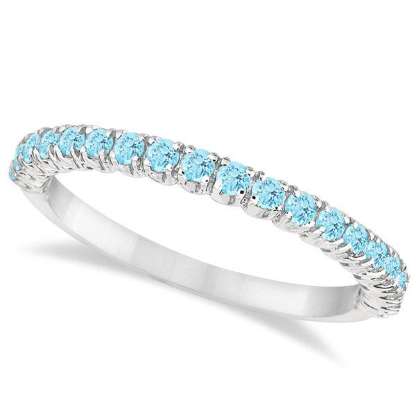 Half-Eternity Pave-Set Thin Aquamarine Stack Ring 14k White Gold (0.65ct)