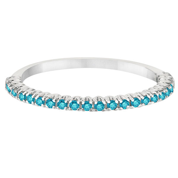 Half-Eternity Pave Blue Diamond Stacking Ring 14k White Gold (0.25ct)