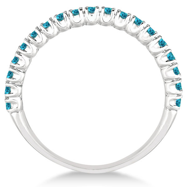 Half-Eternity Pave Thin Blue Diamond Stack Ring 14k White Gold (0.50ct)