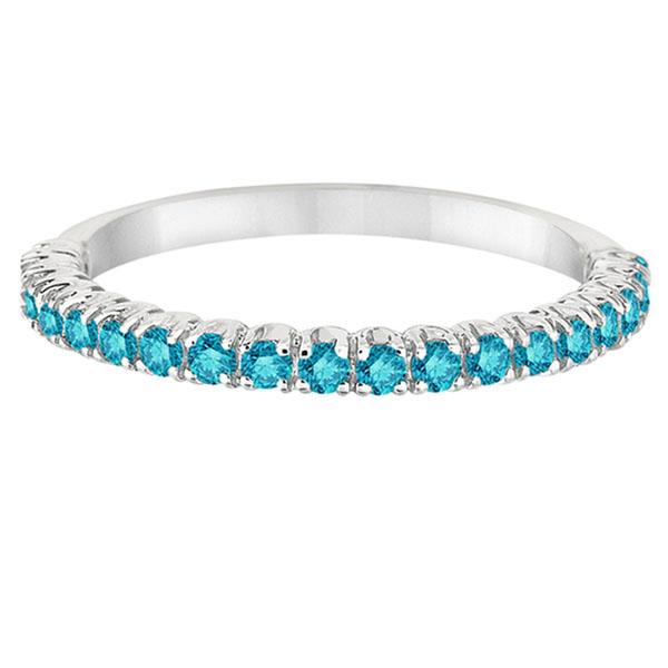 Half-Eternity Pave Thin Blue Diamond Stack Ring 14k White Gold (0.50ct)