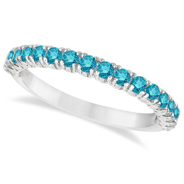 Half-Eternity Pave Blue Diamond Stacking Ring 14k White Gold (0.75ct)