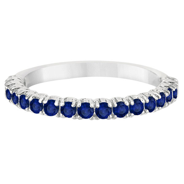Half-Eternity Pave Blue Sapphire Stacking Ring 14k White Gold (0.95ct)