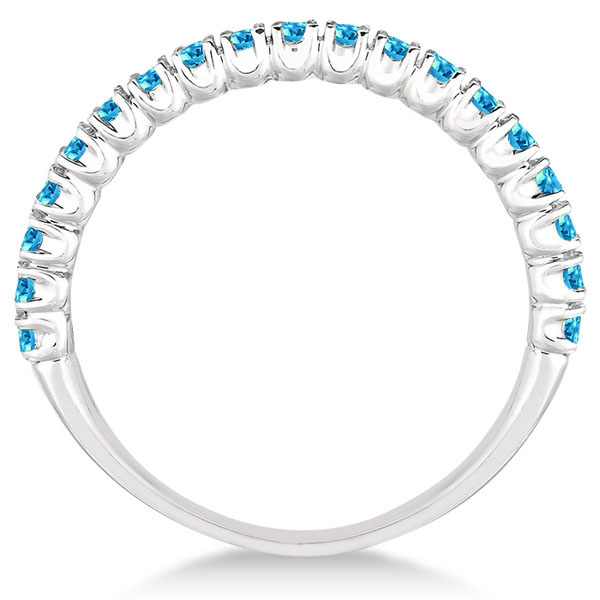 Half-Eternity Pave Thin Blue Topaz Stack Ring 14k White Gold (0.65ct)
