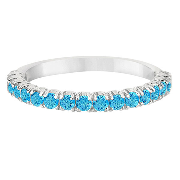 Half-Eternity Pave-Set Blue Topaz Stacking Ring 14k White Gold (0.95ct)