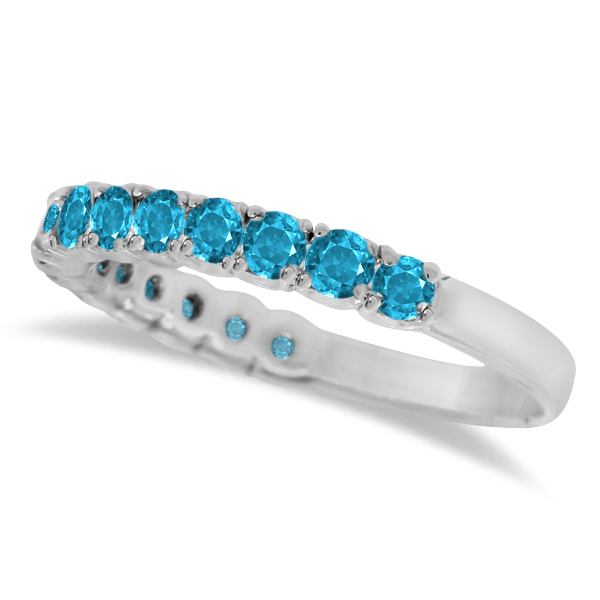 Blue Topaz Semi-Eternity Ring Band 14k White Gold (1.09ct)