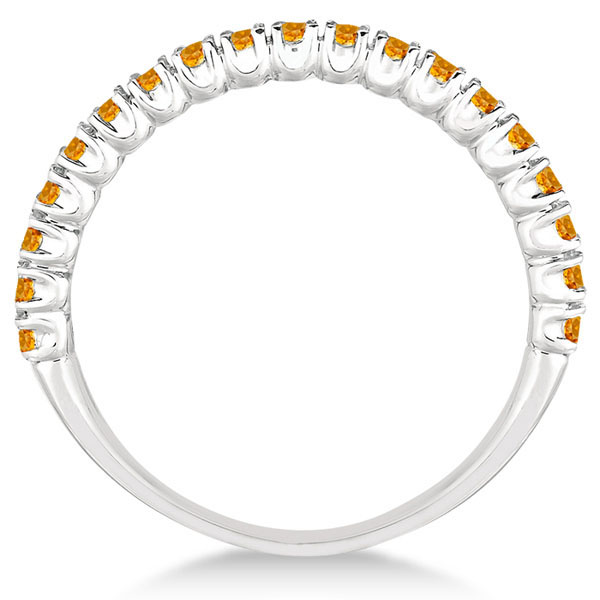 Half-Eternity Pave-Set Thin Citrine Stacking Ring 14k White Gold (0.65ct)