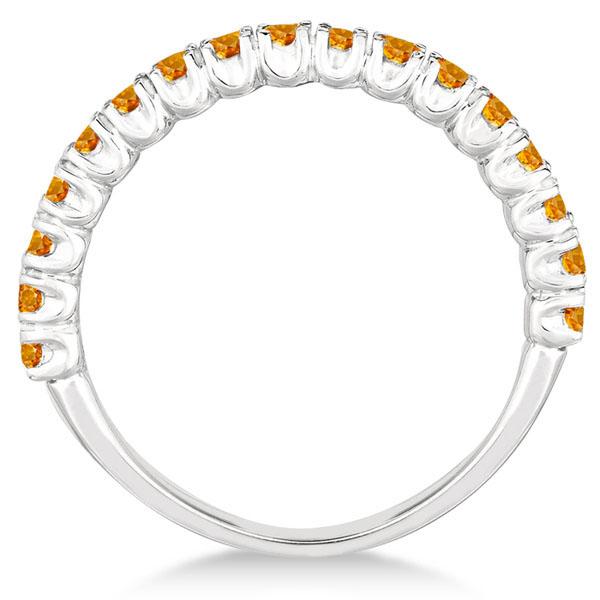 Half-Eternity Pave-Set Citrine Stacking Ring 14k White Gold (0.95ct)