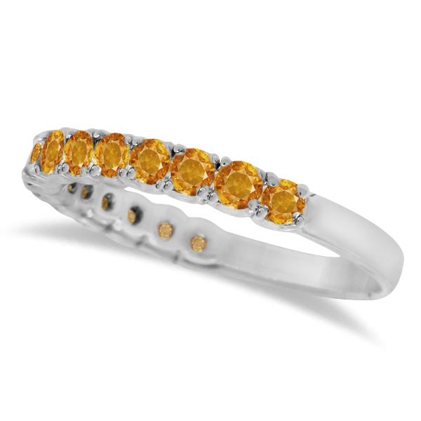 Citrine Semi-Eternity Ring Band 14k White Gold (1.09ct)