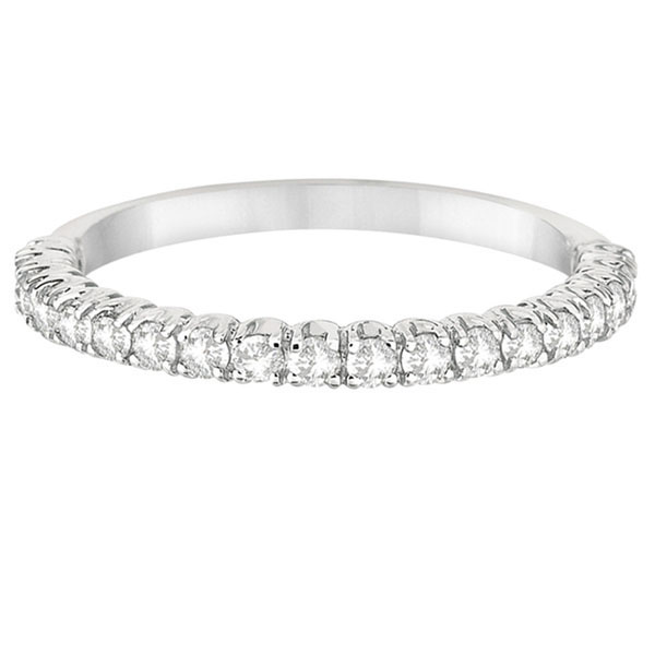 Half-Eternity Pave-Set Thin Diamond Stacking Ring 14k White Gold (0.50ct)