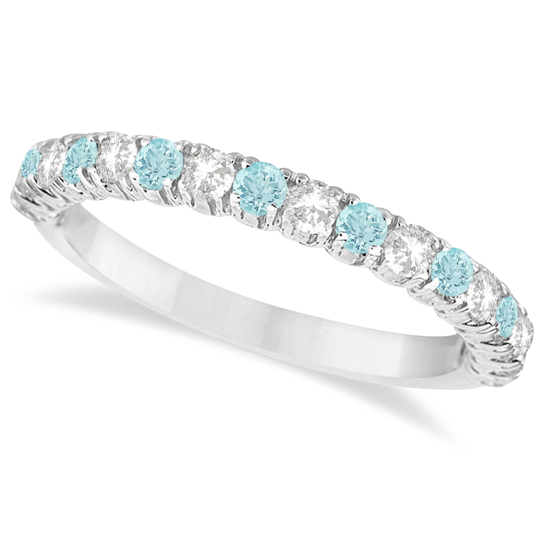 Wedding Rings Aquamarine Aquamarine Diamond Wedding Band Anniversary Ring 14k