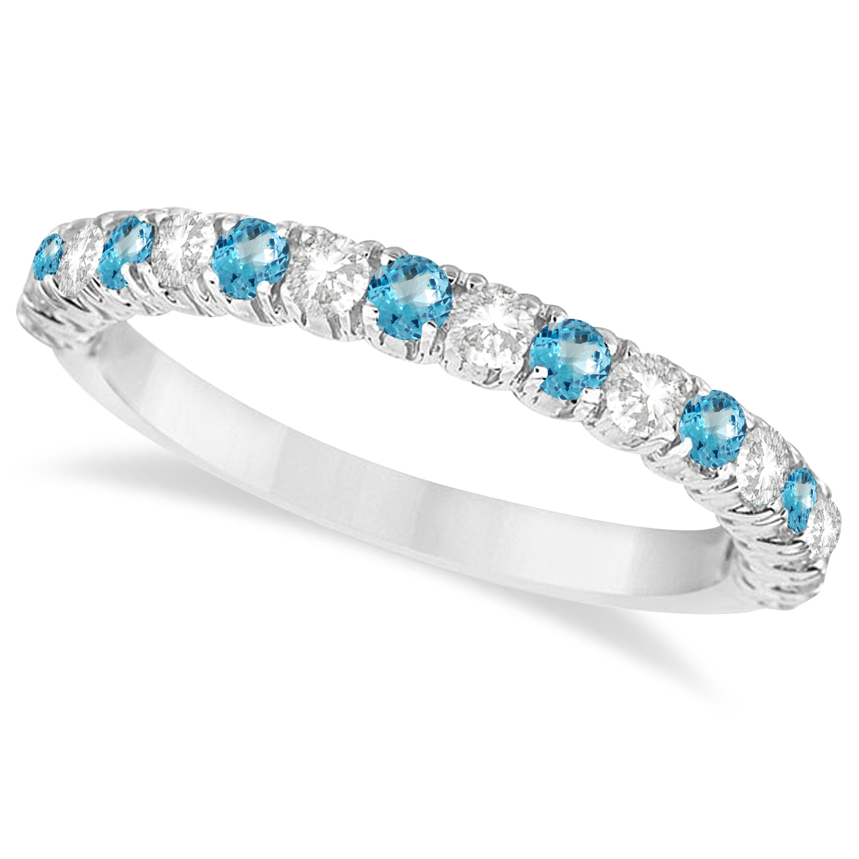 Blue Topaz & Diamond Wedding Band Anniversary Ring in 14k White Gold (0.75ct)