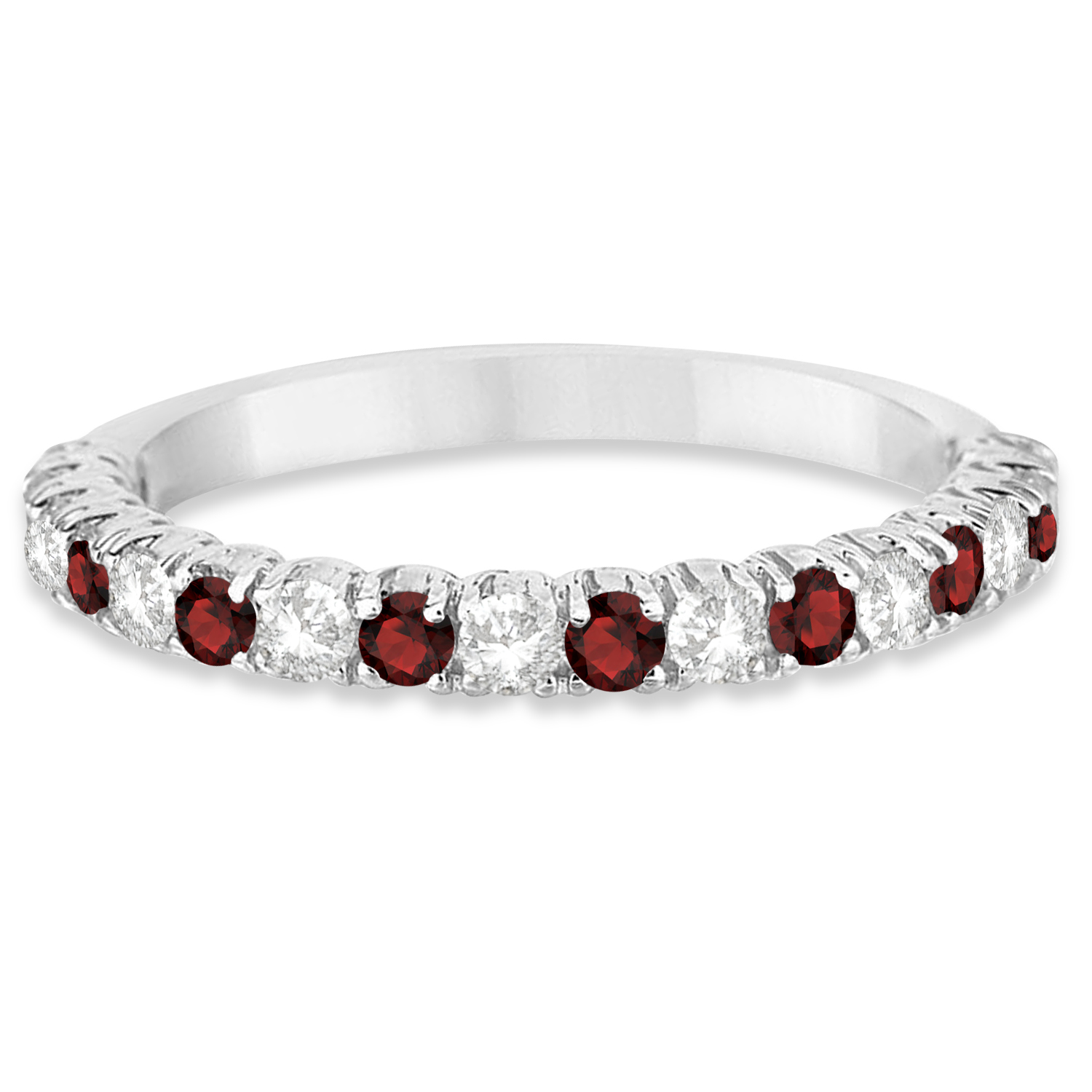 Garnet Ring Bands: Garnet & Diamond Wedding Band Anniversary Ring 14k White