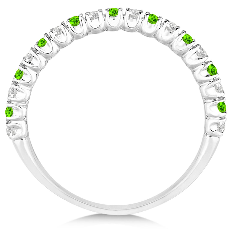 Peridot & Diamond Wedding Band Anniversary Ring 14k White