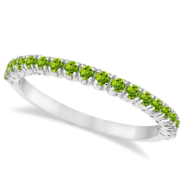 Half-Eternity Pave-Set Thin Peridot Stacking Ring 14k White Gold (0.65ct)