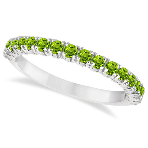 Half-Eternity Pave-Set Peridot Stacking Ring 14k White Gold (0.95ct)