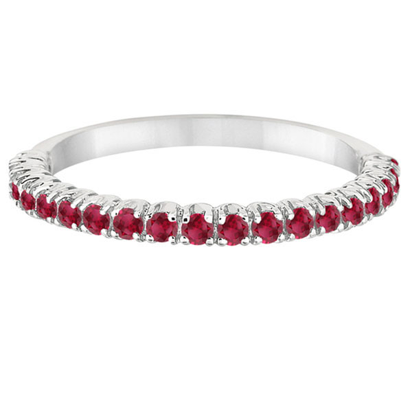 Half-Eternity Pave-set Thin Ruby Stacking Ring 14k White Gold (0.65ct)