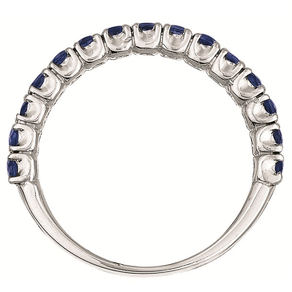 Blue Sapphire Semi-Eternity Ring  Band 14k White Gold (1.09ct)
