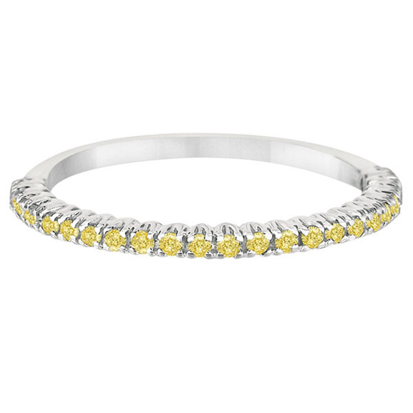 Half-Eternity Pave Yellow Diamond Stacking Ring 14k White Gold (0.25ct)