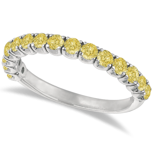Yellow Canary Diamond Ring Anniversary Band 14k White Gold (1.00ct)
