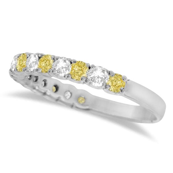 Yellow Canary & White Diamond Anniversary Band 14k White Gold (1.00ct)