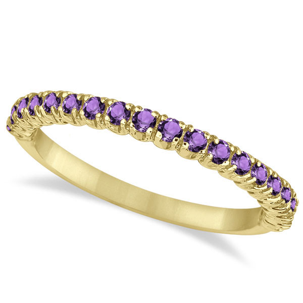 Half-Eternity Pave-Set Thin Amethyst Stack Ring 14k Yellow Gold (0.65ct)