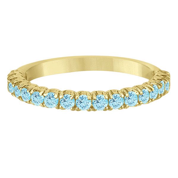 Half-Eternity Pave-set Aquamarine Stacking Ring 14k Yellow Gold (0.95ct)