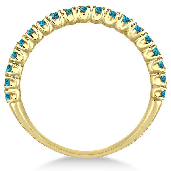 Half-Eternity Pave Thin  Blue Diamond Stack Ring 14k Yellow Gold (0.50ct)