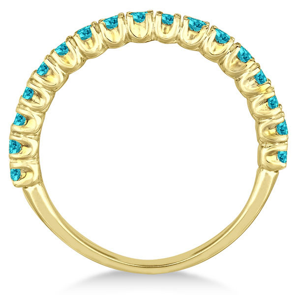 Half-Eternity Pave  Blue Diamond Stacking Ring 14k Yellow Gold (0.75ct)