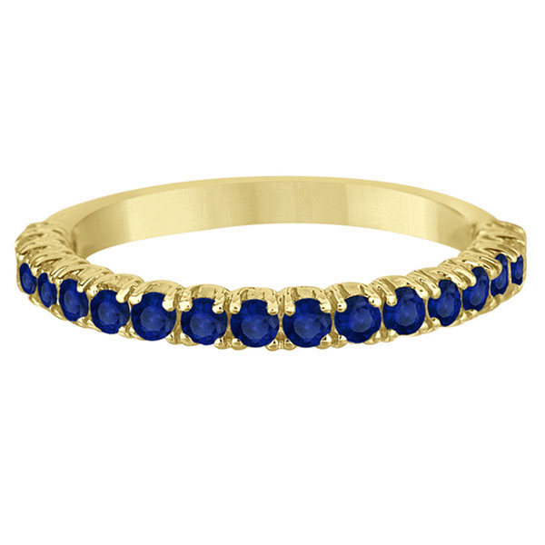 Half-Eternity Pave Blue Sapphire Stacking Ring 14k Yellow Gold (0.95ct)
