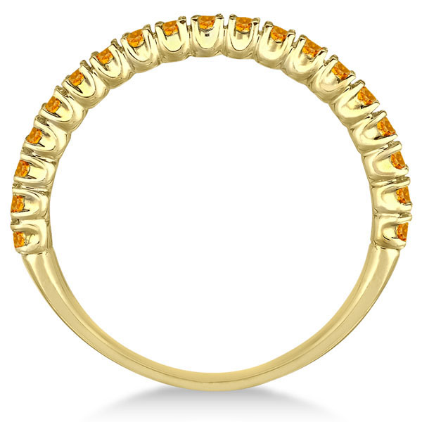 Half-Eternity Pave-Set Thin Citrine Stack Ring 14k Yellow Gold (0.65ct)