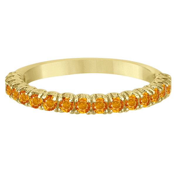 Half-Eternity Pave-Set Citrine Stacking Ring 14k Yellow Gold (0.95ct)
