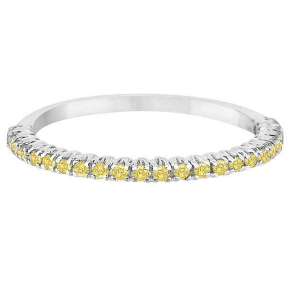 Half-Eternity Pave-Set Yellow Diamond Stacking Ring Palladium (0.25ct)
