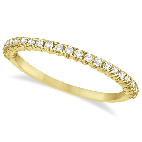 Half-Eternity Pave-Set Diamond Stacking Ring 14k Yellow Gold (0.25ct)