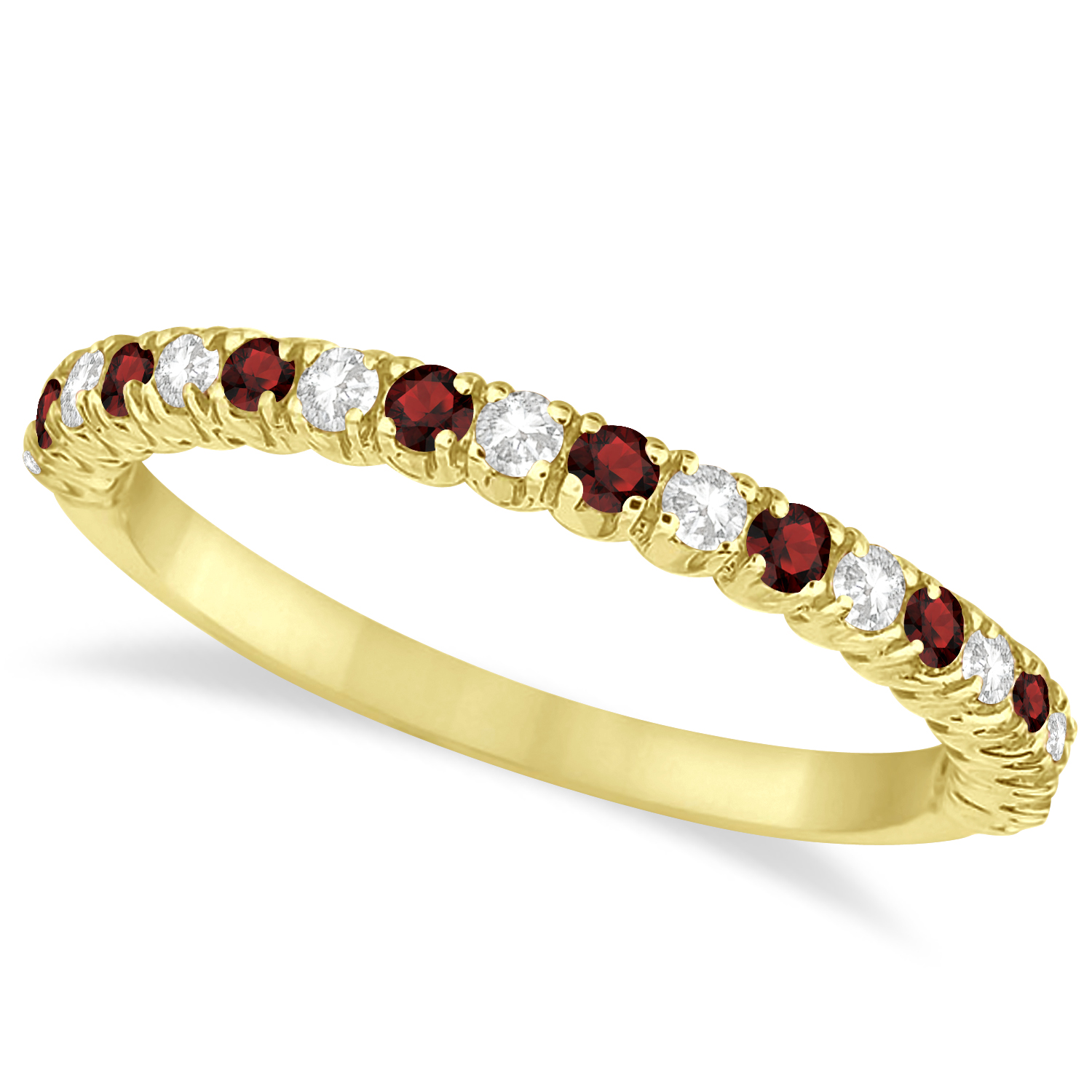 Garnet Ring Bands: Garnet & Diamond Wedding Band Anniversary Ring 14k Yellow