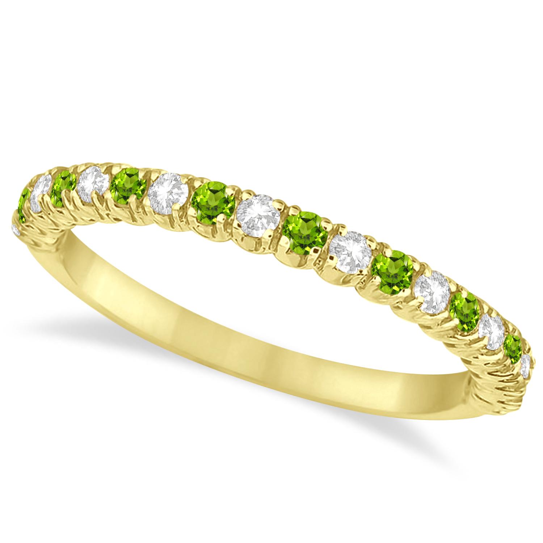Peridot & Diamond Wedding Band Anniversary Ring 14k Yellow