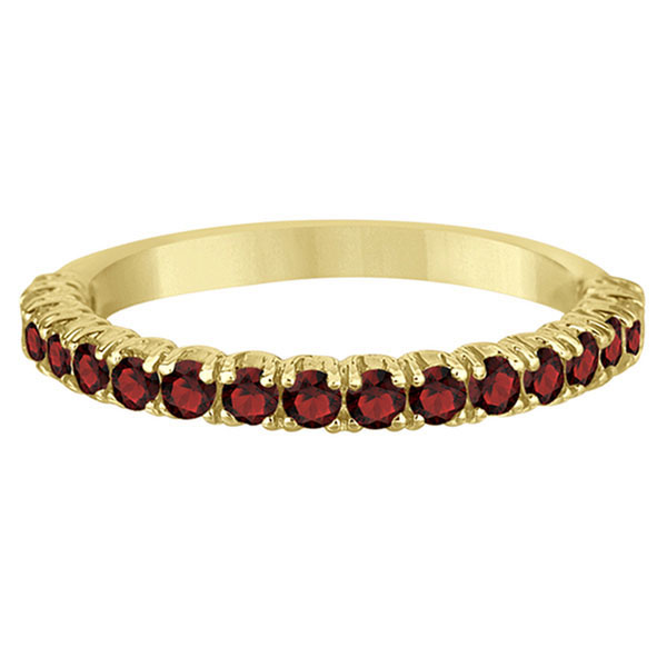Half-Eternity Pave-Set Garnet Stacking Ring 14k Yellow Gold (0.95ct)