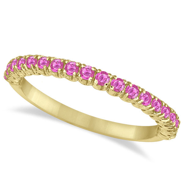 Half-Eternity Pave Thin Pink Sapphire Stack Ring 14k Yellow Gold (0.65ct)