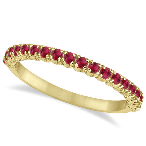 Half-Eternity Pave-set Thin Ruby Stacking Ring 14k Yellow Gold (0.65ct)