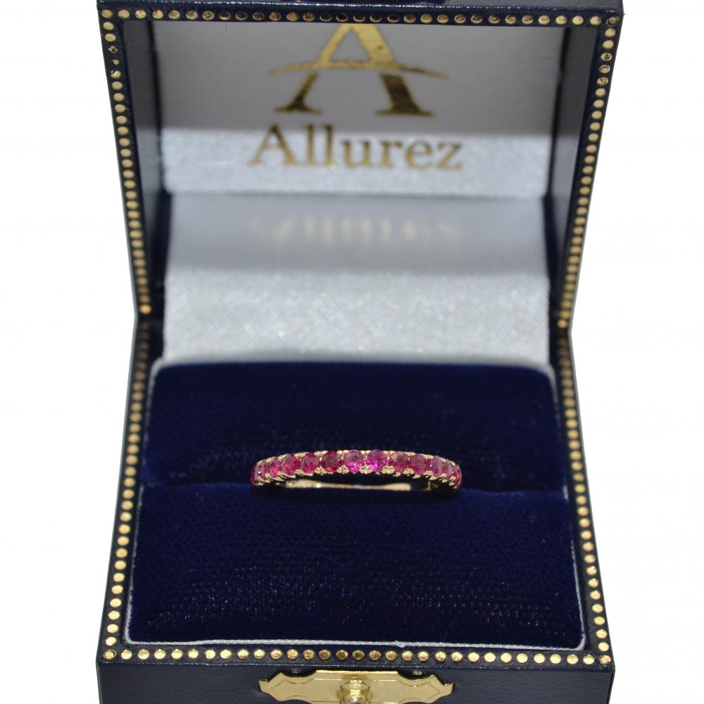 Half-Eternity Pave-set Ruby Stacking Ring 14k Yellow Gold (0.95ct)