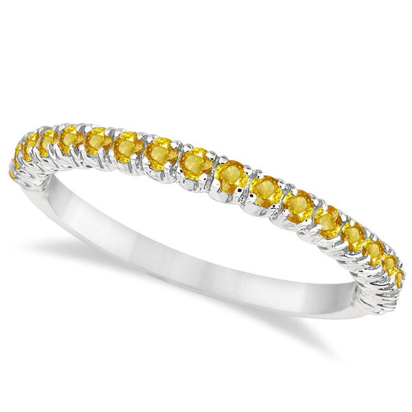 Half-Eternity Pave Thin Yellow Sapphire Stacking Ring Palladium (0.65ct)