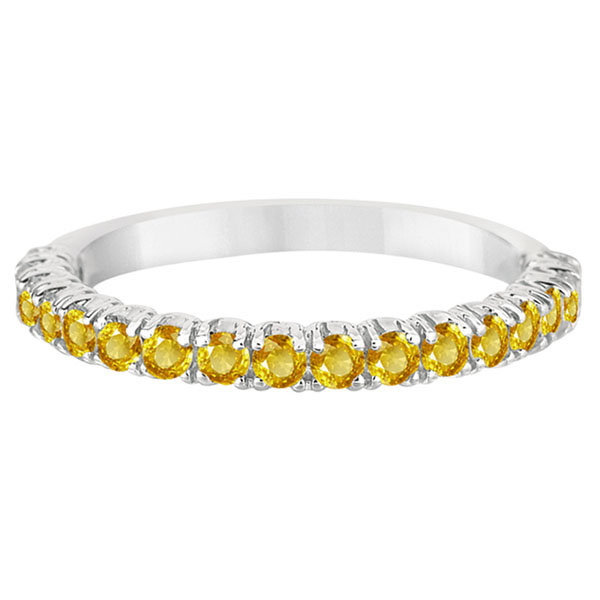 Half-Eternity Pave-Set Yellow Sapphire Stacking Ring Palladium (0.95ct)