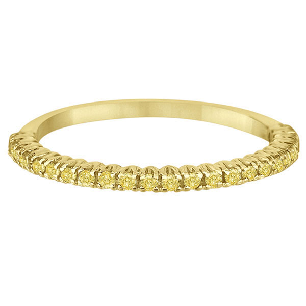 Half-Eternity Pave  Yellow Diamond Stacking Ring 14k Yellow Gold (0.25ct)