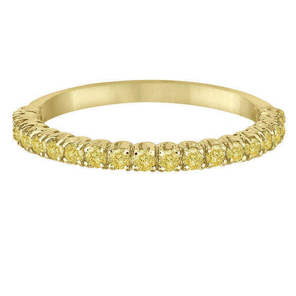 Half-Eternity Pave Thin Yellow Diamond Ring 14k Yellow Gold (0.50ct)