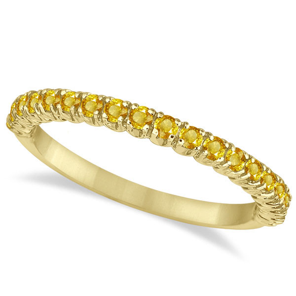 Half-Eternity Pave Thin Yellow Sapphire Ring 14k Yellow Gold (0.65ct)