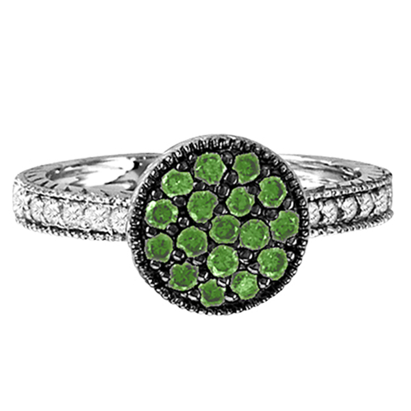 White & Green Diamond Circle Ring in 14K White Gold (0.62 ctw)