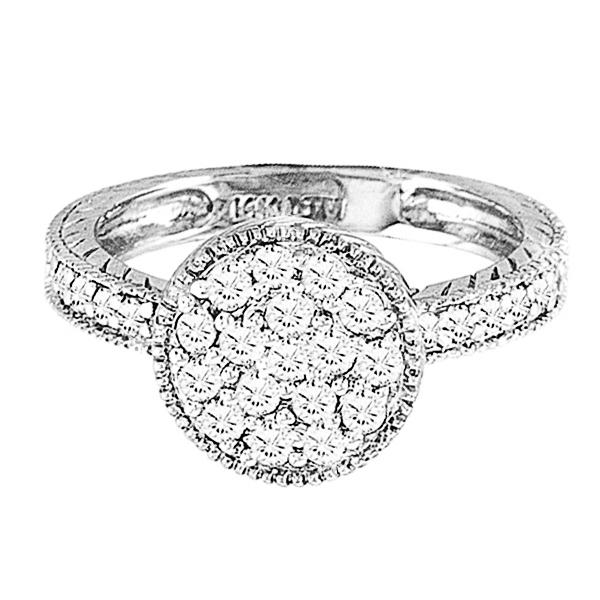 Designer Circle Diamond Fashion Ring in 14k White Gold (0.55ct)