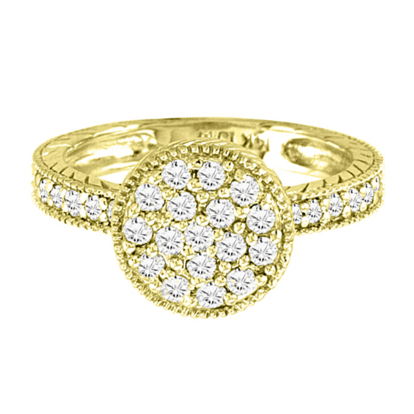 Designer Circle Diamond Fashion Ring in 14k Yellow Gold (0.55ct)