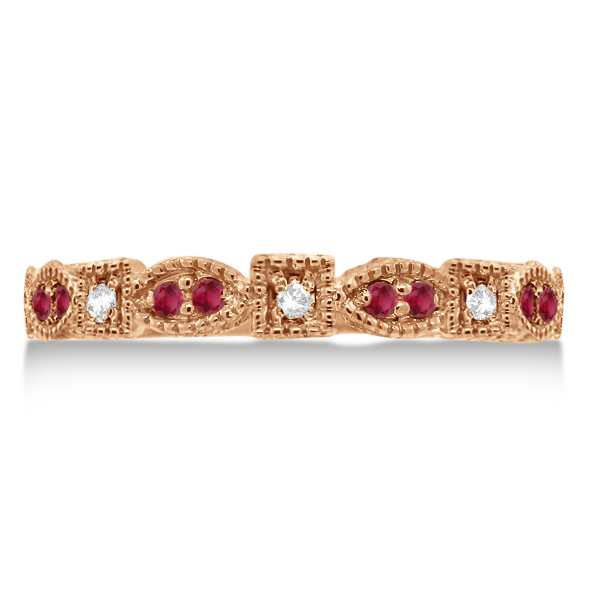 Vintage Stackable Diamond & Ruby Ring 14k Rose Gold (0.15ct)