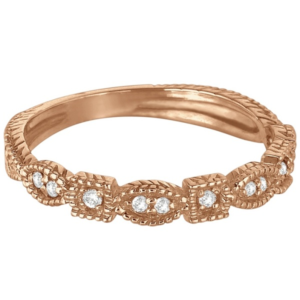 Diamond Stackable Vintage Style Ring in 14k Rose Gold (0.15ct)