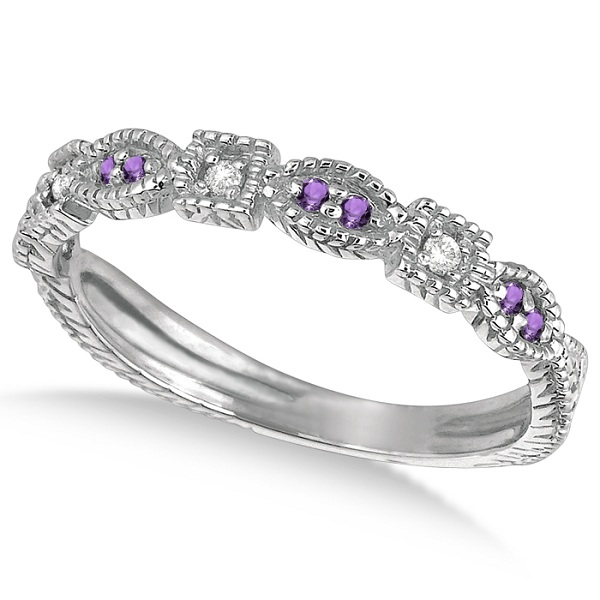 Vintage Stackable Diamond & Amethyst Ring 14k White Gold (0.15ct)